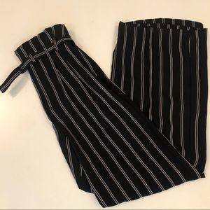 Express Paper-bag waist wide leg pants